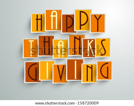 Colorful sticker, tags or labels with Stylize text on grey background for Happy Thanks Giving.  - stock vector