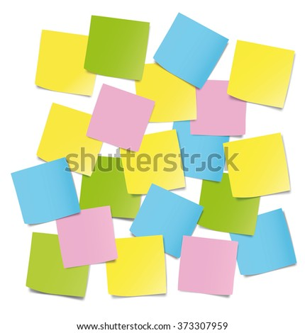 Colorful sticky notes on white background. Vector illustration. Ready for your design - stock vector