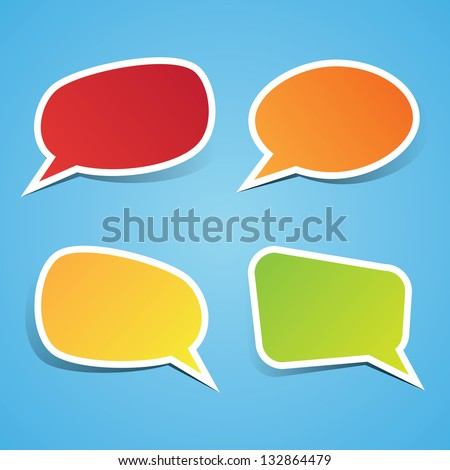 Colorful Sticky Speech Bubbles - stock vector