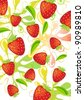 Colorful strawberry background over white - stock vector
