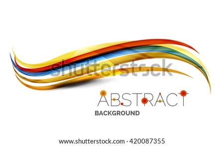 Colorful stripes wave composition, business template - geometric abstract background, swirl colorful lines - color curve stripes and lines in motion concept and with light and shadow effects - stock vector