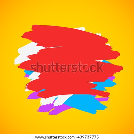 Colorful strokes of paint on a yellow background. Vector illustration background. Place for text - stock vector
