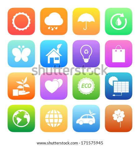 Colorful style Eco icons vector set.