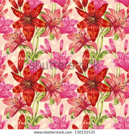 Colorful stylish spring floral seamless pattern with dots and leaves - stock vector