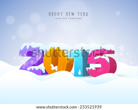 Colorful stylish text 2015 covered with snow on snowflakes decorated winter background  for Happy New Year celebrations. - stock vector