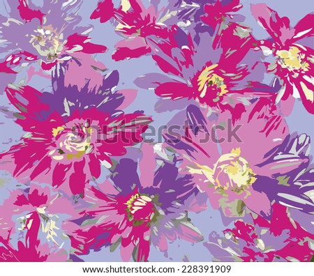 Colorful stylized chrysanthemums on blue background - stock vector