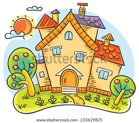 Colorful stylized countryside house with a garden on a summer day - stock vector