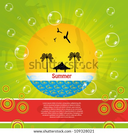Colorful summer background with bubbles - stock vector