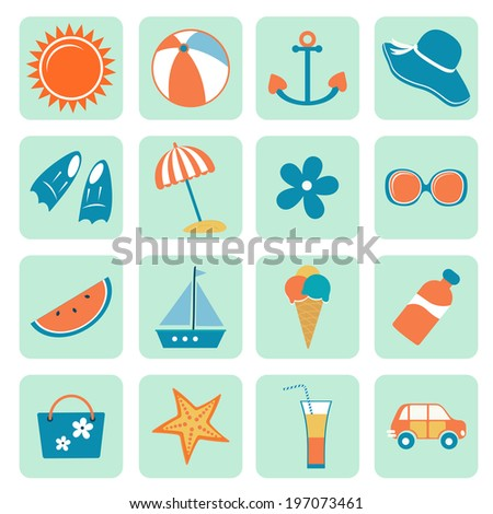 Colorful summer icons collection. Vector illustration