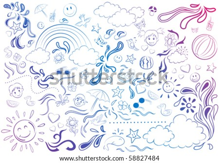 Colorful Summer Line/sketch - stock vector