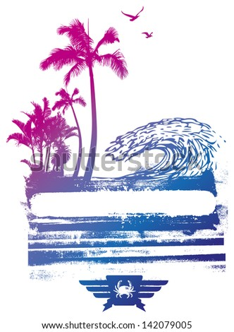 colorful summer scene - stock vector