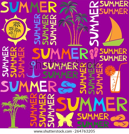 Colorful summer seamless pattern. Vector illustration - stock vector