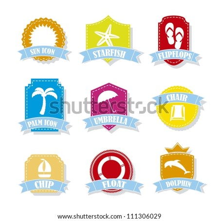 colorful summer tags over white background. vector illustration - stock vector