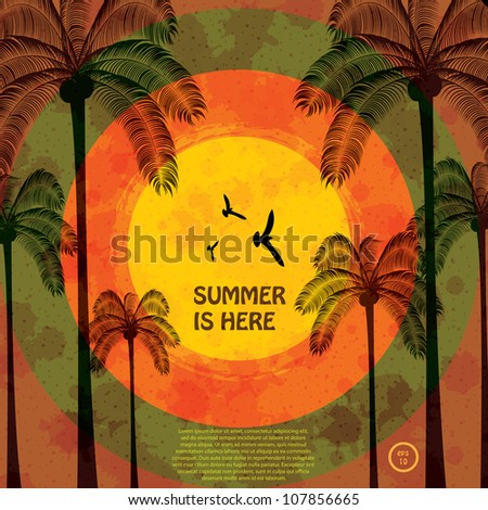 Colorful summer template - stock vector