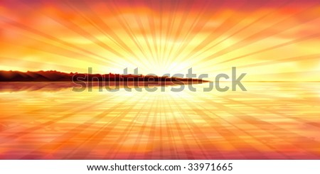 Colorful sunset over a stony ocean island (other landscapes are in my gallery) - stock vector