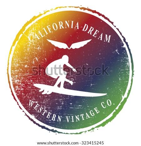 colorful surf emblem with surfer sliding the wave - stock vector