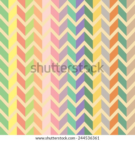 Colorful sweet and ice cream color abstract seamless vector herringbone pattern - stock vector