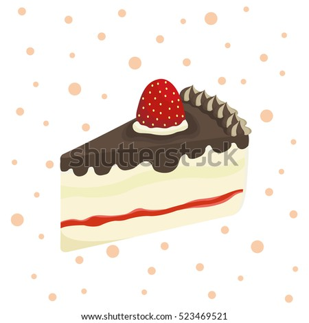 Colorful sweet cakes slices pieces isolated on white background. Set of cakes. Vector illustration