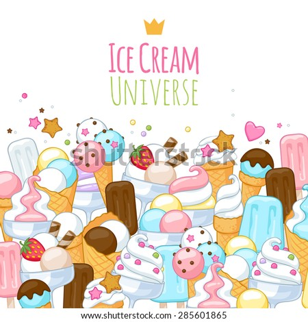 Colorful sweet ice cream icons background. Vector illustration. - stock vector