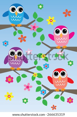 colorful sweet owls  - stock vector