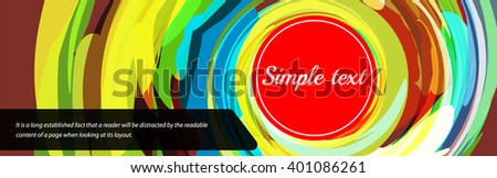 Colorful swirl horizontal banner in vector. Color paint artistic illustration in motion. Bright banner with place for text - stock vector