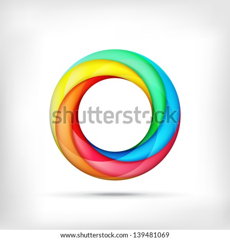 Colorful swirl icon. Abstract bright circle infinite loop icon logo. Spectrum circle sign. Rainbow icon - stock vector