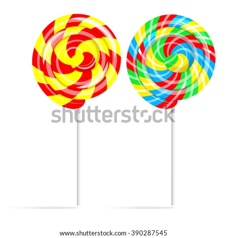 Colorful swirl lollipop set. Lollipop candy on a stick isolated on white background, vector illustration - stock vector