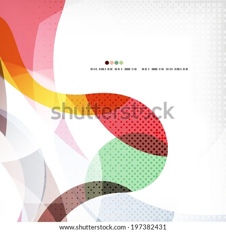 Colorful swirl wave lines background with dot texture - stock vector