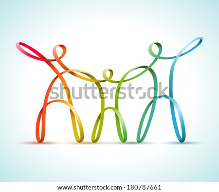 Colorful swirly figures family - stock vector