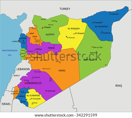 Colorful Syria political map with clearly labeled, separated layers. Vector illustration. - stock vector