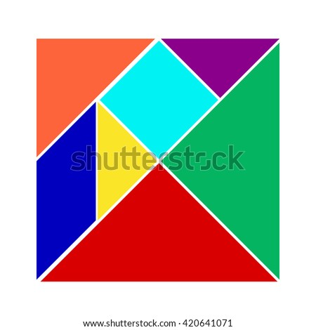 Colorful tangram on white background (Vector)