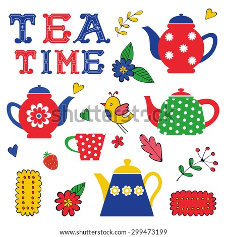 Colorful tea party set. Illustration in vector format - stock vector