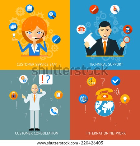 Colorful Technical Support and Customer Service Icons - stock vector