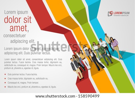 colorful template for advertising brochure with business people - stock vector
