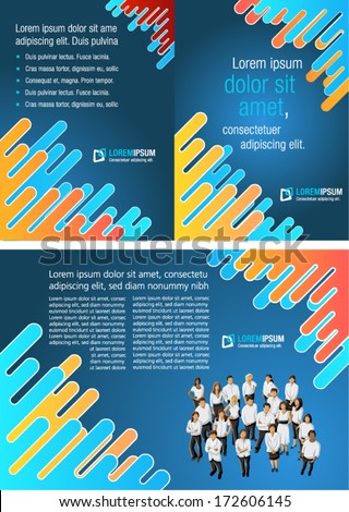 Colorful template for advertising brochure with business people