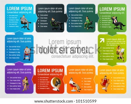 Colorful template for advertising brochure with business people on chair - stock vector