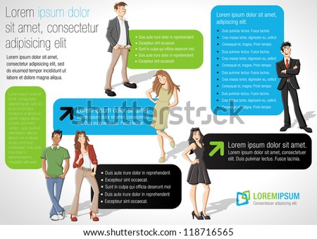 Colorful template for advertising brochure with cartoon people - stock vector