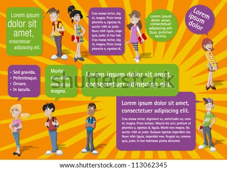 Colorful template for advertising brochure with cool cartoon young people and speech balloons. Teenagers. - stock vector