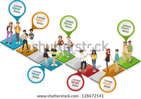 Colorful template for advertising brochure with cool cartoon young people over path - stock vector
