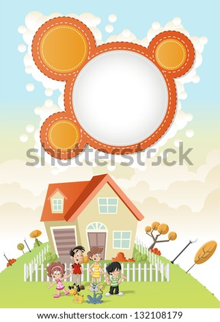 Colorful template for advertising brochure with cute happy cartoon family in front of a house in green park. - stock vector