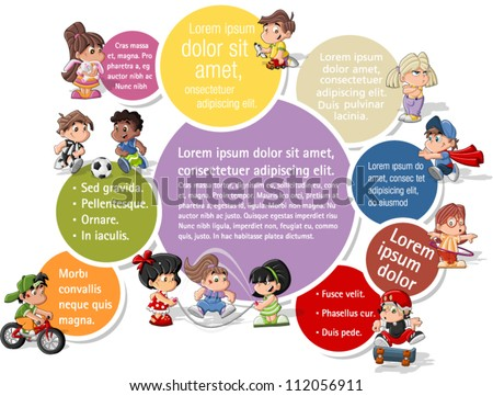 Colorful template for advertising brochure with cute happy cartoon kids playing - stock vector