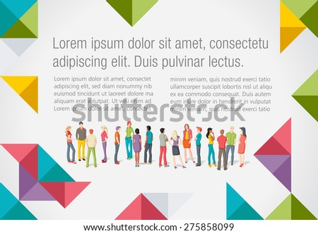Colorful template for advertising brochure with large group of young people  - stock vector