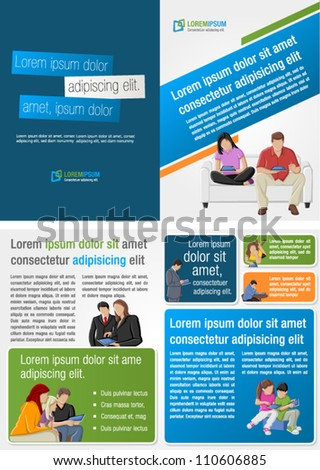 Colorful template for advertising brochure with people with tablets - stock vector