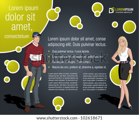 Colorful template with cartoon teenager man and woman