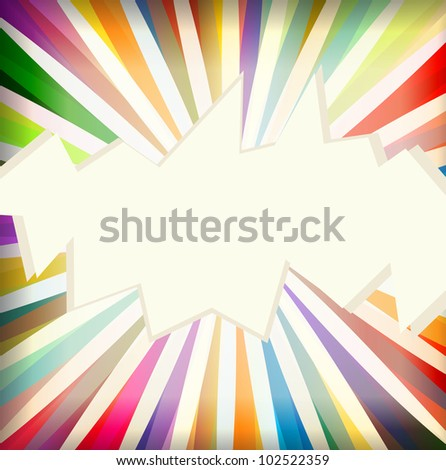 Colorful template with retro sun burst background - stock vector