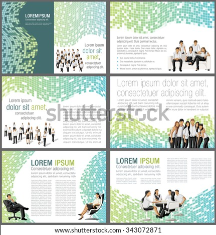 Colorful templates for advertising brochures with business people - stock vector