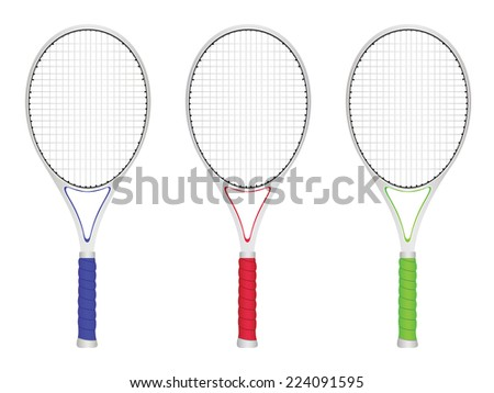 Colorful tennis rackets set on white background.