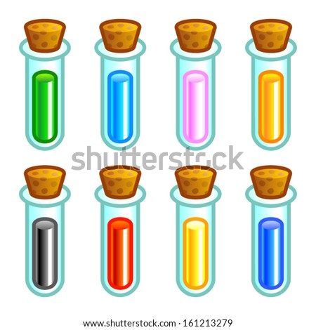 Colorful test tubes - stock vector