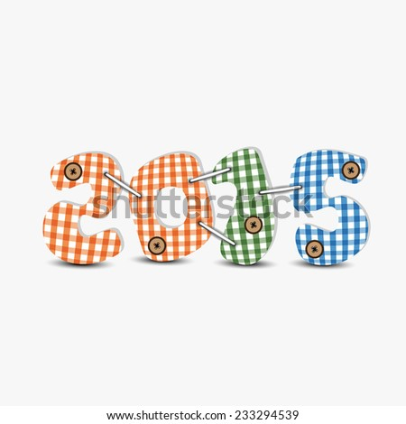 Colorful text 2015 decorated with button on grey background for Happy New Year celebrations. - stock vector