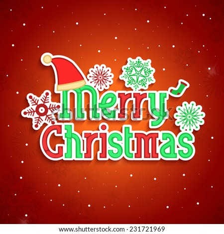 Colorful text of Merry Christmas decorated with Santa hat, snowflakes on shiny red background.